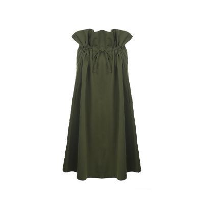 shirring detail long skirt khaki
